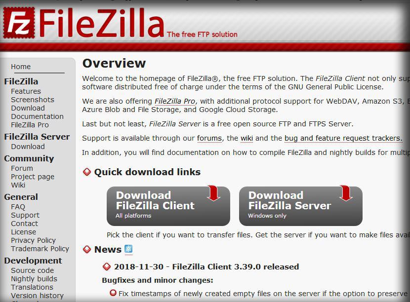 FTP Server Filezilla client