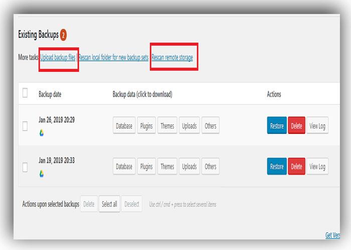Backup WordPress site Restore