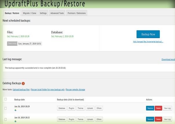 Backup WordPress site dashboard