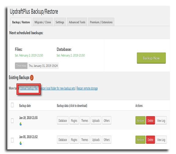 Restore WordPress from Backup UpdraftPlus 3