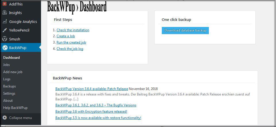 BackWPup to backup WordPress site Dashboard